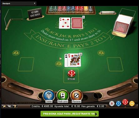 pantalla de juego de blackjack en casinos online