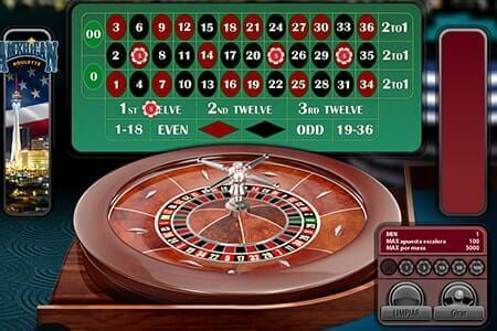pantalla de juego ruleta electrónica versión americana