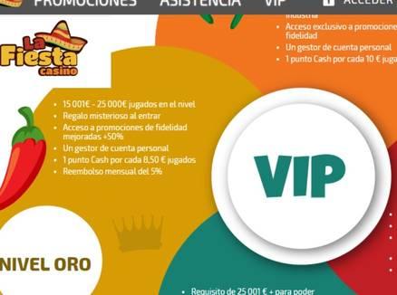 La Fiesta Casino Bonos Promocionales VIP