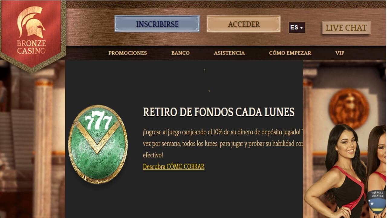 Bronze Casino 10% de bono promocional por retiro de los lunes