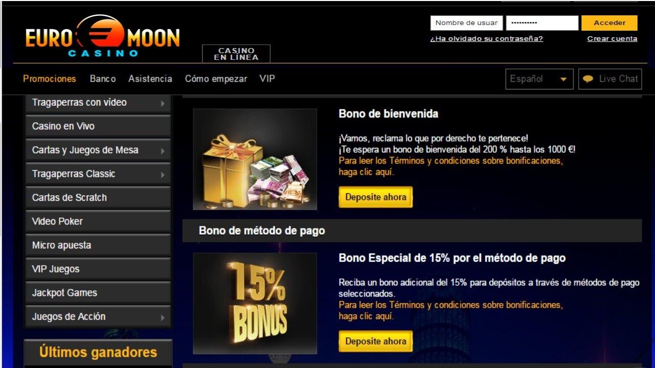 Bonos por método de ingreso 15% Casino Euromoon