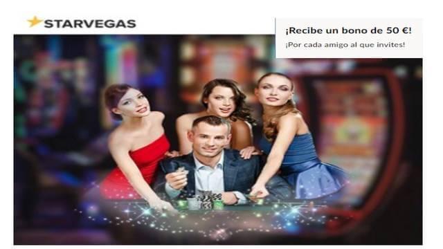 Bono de 50 euros por traer a un amigo al casino Starvegas