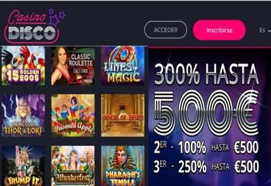 500 euros promocionales por el bono de bienvenida Casino Disco