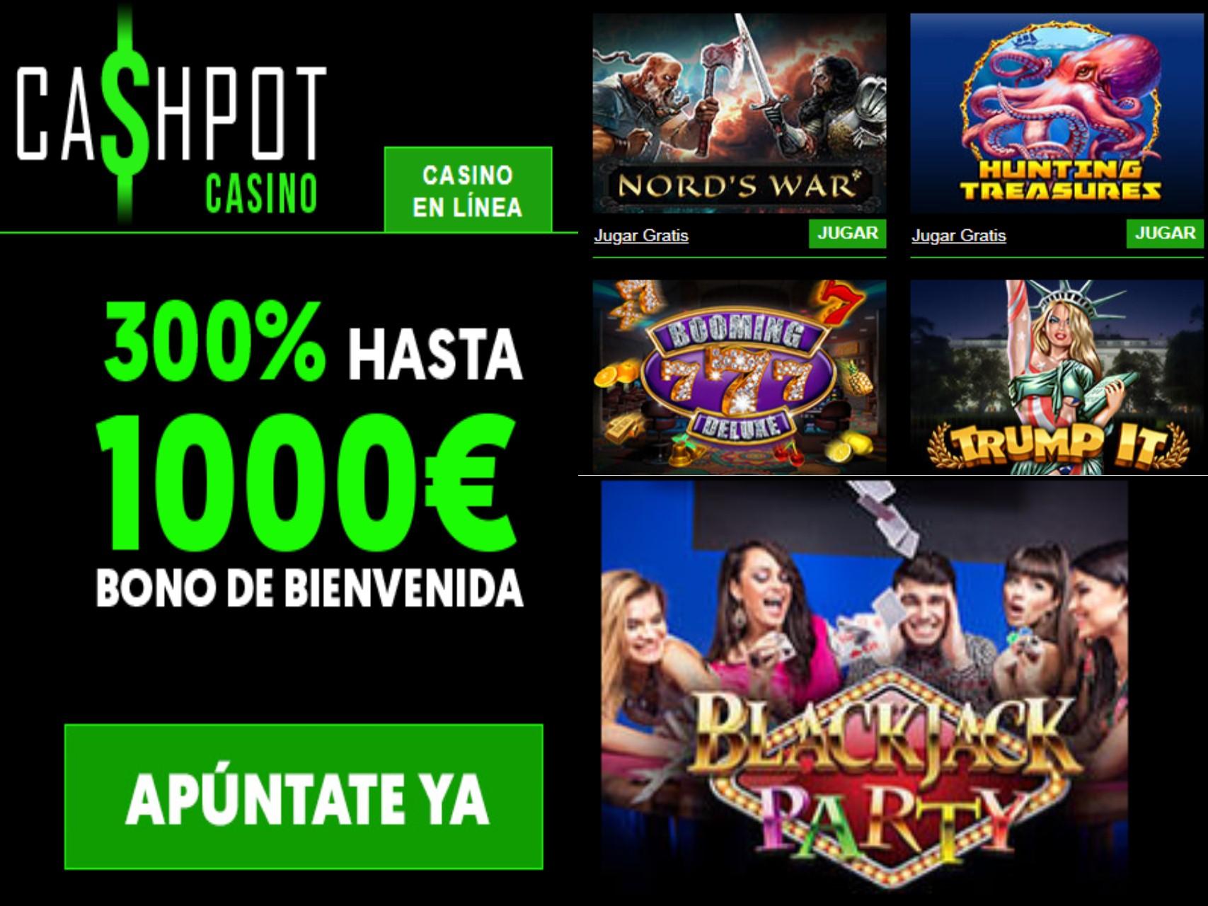 Casino Cashpot entrega 300% hasta por 1000 euros a los nuevos jugadores