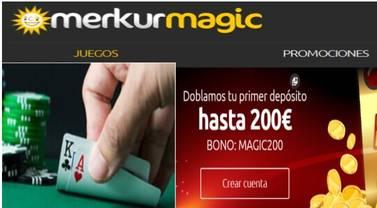 En Merkurmagic se duplica el primer depósito hasta por 200 euros