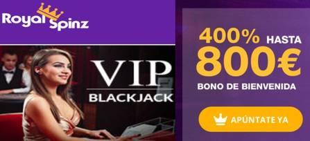 Royal Spinz entrega 800 euros y 25 jugadas gratis por primer depósito