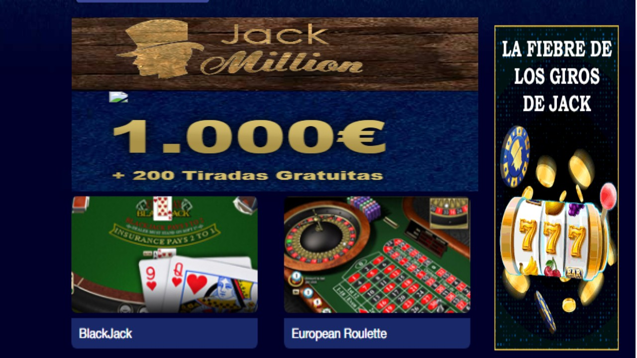 Casino Jack Million 20 giros gratis los lunes