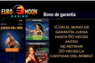 50 juegos previos y 20 veces el valor del bono de garantía Casino Euromoon