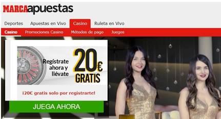 Registro en casino Marca Apuestas entrega 20 euros